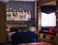 Retro girl's bedroom design at SIA office