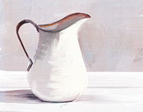 Enamelware Pitcher, white
