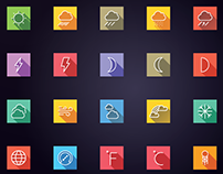 Weather and Forecast Flat Icons - Line Icons
