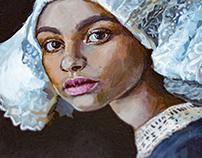 Acrylic on canvas traditional media portrait.