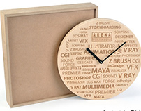 Wooden Engraved Clock For Aptech