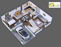 3D ARCHITECTURAL FLOOR PLAN RENDERING FOR PROPERTY RENT