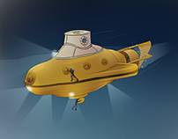 """Concept illustrations for """"Flying Fish"""" submarine"""