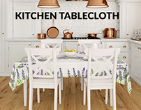 Tablecloth in Kitchen Mockup Set