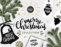 Merry Christmas. Collection of holiday items and letter