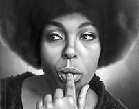 Roberta Flack Digital Painting by Wayne Flint