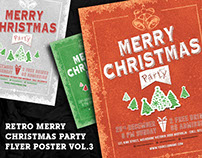 Retro Merry Christmas Party Flyer Poster Vol.3