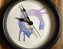 Space fox Clock
