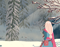 Tracking in the snow - illustration