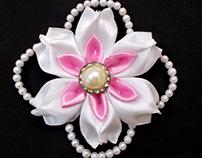 Kanzashi Flowers with Beads : DIY Satin Ribbon Flower