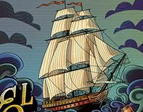 El Matancero, rum label illustration