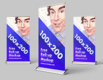 Free roll-up mockup / 100x200