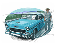 Chano with a '56 Chevy