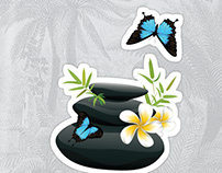 Black pebble with flower