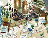 Chronic fatigue syndrome editorial illustrations