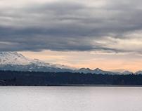 Stormy weather around Mt Rainier, Seattle, Washington
