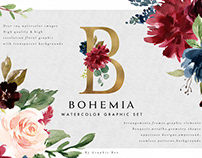 Watercolor Floral Graphic Set-Bohemia