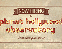 Planet Hollywood Now Hiring Cards