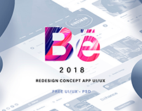 Behance App Redesign UI/UX - Free PSD