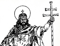 King Saint Stephen | pen drawing | 2011