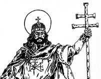 King Saint Stephen | pen drawing | 2011
