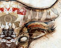 Bull - Mixed Media on Canvas