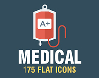 175 Medical and Health Flat Icons Pack