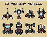 10 A military vehicle in retro pixel style. Available i