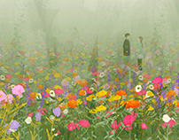 foggy flower meadow