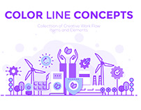 Collection of Flat Line Color Banners