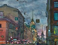 Saint-Petersburg, watercolors