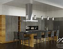 Интерьер кухни в частном доме, 60 м²
