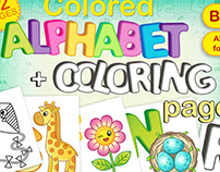 Colored alphabet + coloring pages