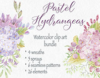 Watercolor clip art bundle of pastel hydrangeas