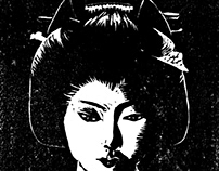 Dark Geisha - illustration linogravée