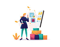 Shopping With Online Shop Illustration