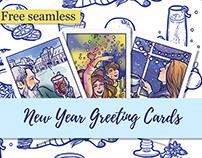 New Year Greeting Card + (Free seamless pattern)