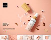 Cosmetic Mailing Box Mockup Set