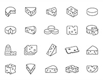 20 Cheese Vector Icons