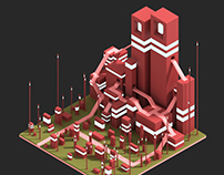 The monument grid - Voxel art
