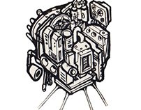 Atoms4D Scifi Concept Art - Molekskine Calligraphy Art