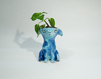 Blue Animal Planter