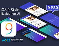 iOS9 Style Mobile Left Menu UI PSD