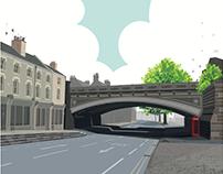 Derby Friargate Bridge, (UK) Vector Illustration.