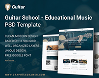Guitar School - Educational Music (FREE PSD Template)