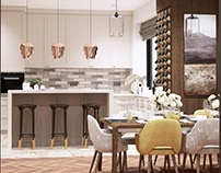 Kitchen-living room in a country house
