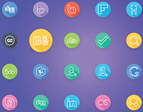 Social Media and Social Network Logos Flat Line Icons