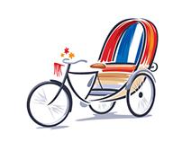 Bangladeshi Rickshaw Illustration