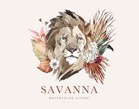 Savanna Watercolor Clipart