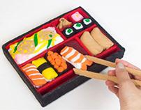 Sushi bento box -handsewn toy